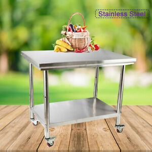 Rolling Kitchen Work Table Cart Stainless Steel For Kitchen W caster 40 x28 x32