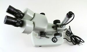 Stereo Zoom Microscope With Lighted Post Stand And 10x Eyepieces Unbranded