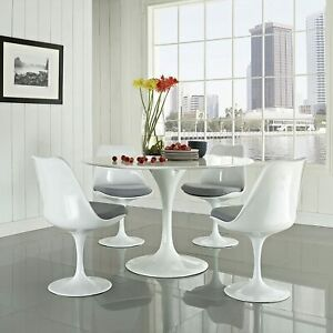 31 5 White Tulip Round Dining Table Swivel Side Chairs Set Mid Century Style