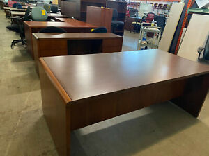 Executive Desk Credenza Set By National Kimball Office Furniture In Walnut