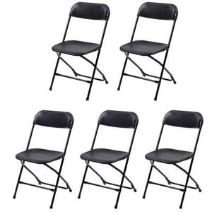 Plastic Folding Chairs Stackable Wedding Party Event Commercial Black set Of 5