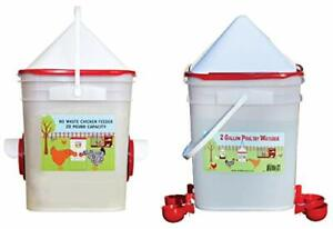 20 Lb Dual Port Chicken Feeder And 5 Gallon Waterer With Automatic Cups And H