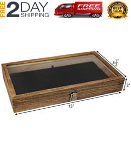 Display Box Wood Glass Top Lid With Black Pad Case Medals Awards Jewelry Brown