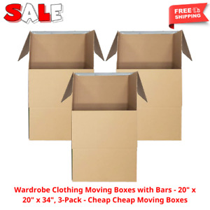 Wardrobe Clothing Moving Boxes With Bars 20 X 20 X 34 3 pack