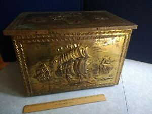 Antique Brass Wood Sailing Ships Embossed Coal Kindling Fire Fireplace Box