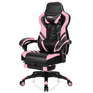 Gymax Office Computer Desk Chair Gaming Chair Adjustable Swivel W footrest Pink