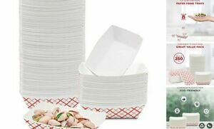 pack Red And White Paper Food Trays Grease Resistant Paperboard 0 25 Lb 250