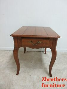 Ethan Allen French Country Legacy One Drawer Lamp End Table Pedestal