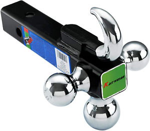 Trailer Tow Hitch Ball Mount With Hook 2 Inch Receiver Hollow Shank 10000 Lb Gtw
