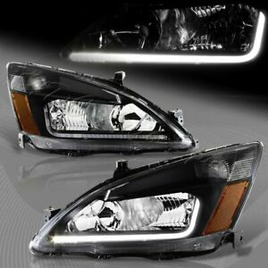 For 2003 2007 Honda Accord Drl Led Black Housing Headlights Withamber Reflector Fits 2003 Honda Accord Coupe