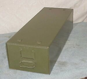 Small Metal File Cabinet Safe t stak Diebold Inc 8x6 24 Long Army Green Vintage