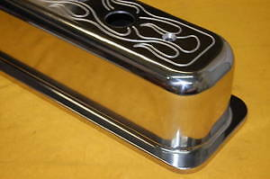 Sbc Tall Valve Covers Center Flamed Aluminum Vortec Small Block Chevy Polished