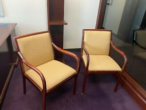 Lobby guest side Chair By Bernhardt Office Furniture W Cherry Finish Wood Frame