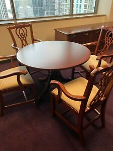 42 Round Conference Table By Bernhardt Office Furniture In Cherry Finish Wood