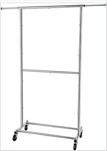 Heavy Duty Double Rod Clothing Garment Rack Rolling Clothes On Wheels Chrome