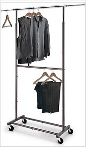 Heavy Duty Double Rod Clothing Garment Rack Rolling Clothes On Wheels Bronze