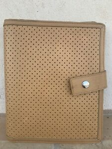Franklin Covey Tan Full Grain Leather 7 Ring Binder Planner Snap Buckle Rare