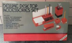 Vtg First Class Deluxe Desk Top Accessories Set Black Organizer Office New 80s