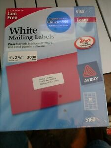 Avery 5160 Labels Laser 1 x2 5 8 Pack Of 3000 Labels New Plastic Sealed