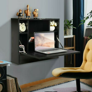 Wall Mounted Floating Folding Computer Desk Laptop Table With Cabinet Bookshelf