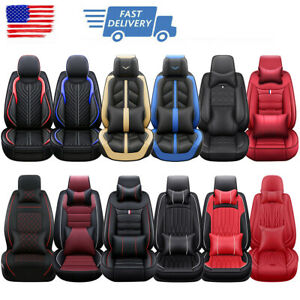 Auto Seat Covers For Car Truck Suv Van Universal Protectors Pu Leather 5d 5 Seat