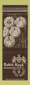 Matchbook Cover Robin Hoods Restaurants Chicago Il Michigan City In Duluth Mn