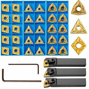 33 Pieces Lathe Excircle Indexable Carbide Turning Tool Holder Bit Set With