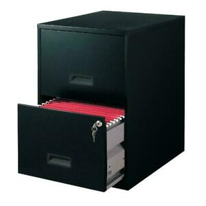 18 2 Drawer Metal File Cabinet Black Steel 18 00 X 14 25 X 24 50 Inches New
