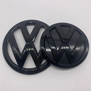 New Glossy Black Front And Rear Badge Emblem For Vw Mk7 Gti Golf7 Set