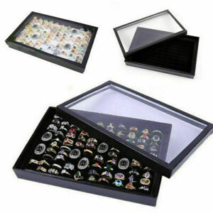 100 Slots Jewelry Ring Display Organizer Tray Holder Earrings Storage Box Case