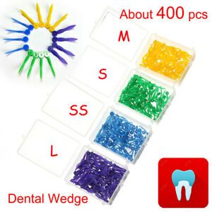 Fda 400pcs Dental Disposable Plastic Wedge With Hole Teeth Wedge All 4 Sizes