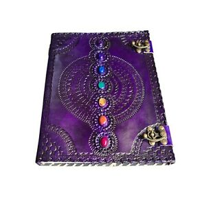 Large Seven Stone Handmade Purple Leather Journal Writing Spell Notebook Wiccan