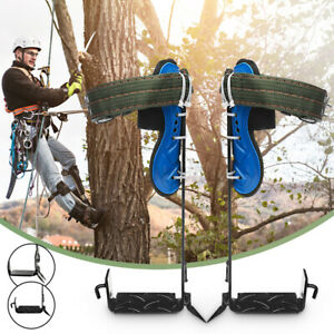 2 gear Tree Climbing Spike Set Safety Belt Adjustable Rope Lanyard Rescue Pedal