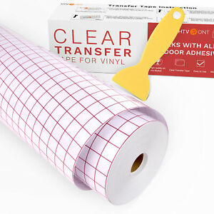 12 X 120ft Vinyl Transfer Tape Craft Application Paper W Red Grid For Cricut