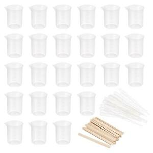 25 Pack 100ml Pp Plastic Graduated Beaker With Stirring Sticks And Pipettes
