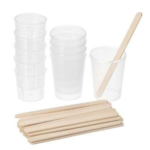 10 Pack 50ml 30ml Pp Plastic Graduated Beaker Clear With Wooden Stirring Sticks