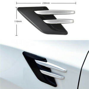 2pcs Abs Shark Fin Grille Decor Sticker For Car Body Side Air Intake Vent Fender