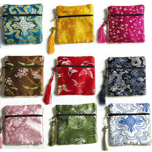 10pcs Mix Colors Chinese Zipper Coin Tassel Silk Square Jewelry Bags Pouch ca