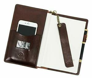Leather Journal With Refillable A5 Notepad And Bookmark Notebook Cover Brown