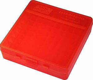 MTM 100 Round Flip Top Ammo Box 40 45 10MM Cal Clear Red $5.99