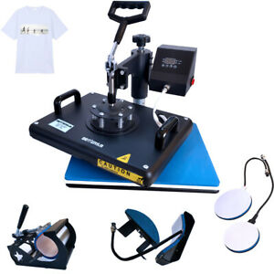 12 x15 Heat Press 5 In 1 Sublimation Transfer Machine For T shirt Mug Plate Cap
