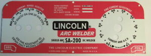 Lincoln Electric Arc Welders Sa 200 163 Red black Decal wrap Control Plate
