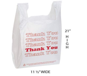 White Thank You Plastic T shirt Bags Case Of 1 000 11 X 6 X 21