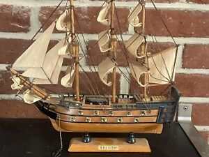 Vintage Hand Crafted Wood Model Decor Nautical Sailboat H M S Victory