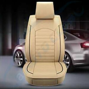 Pu Leather Car Seat Cover Beige 5 Sits Suv Universal Accessories Full Set Us
