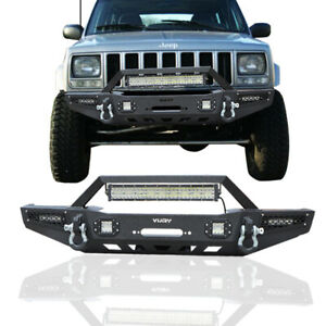Front Bumper With Winch Seat And 5 Led Lights D Ring Fit 84 01 Jeep Cherokee Xj