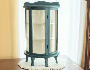 Vintage Butler Curved Glass Curio Display Wood Case two Shelf Tabletop Cabinet