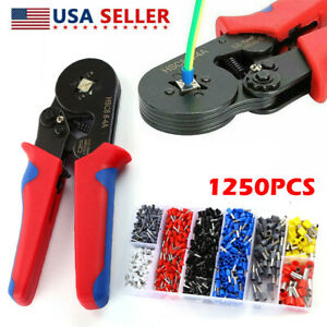 Crimping Tool Crimp Wire Plier Set 1250pc Wire Ferrule Terminals Kit Awg23 7 Us
