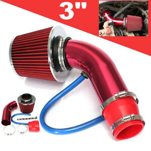 3 Aluminum Universal Cold Air Intake Induction Hose Pipe Car Kit Filter Red