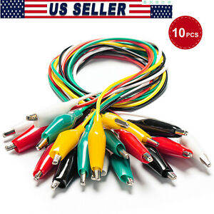10pcs Double Ended Test Leads Alligator Crocodile Clip Jumper Wire Cables Clamps